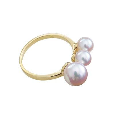 Picture of 18K Gold Akoya Pearls Triplet Open Ring