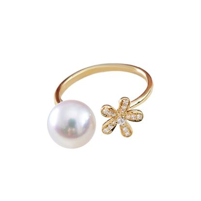 Picture of 18K Gold Flower with Akoya Pearl Open Ring