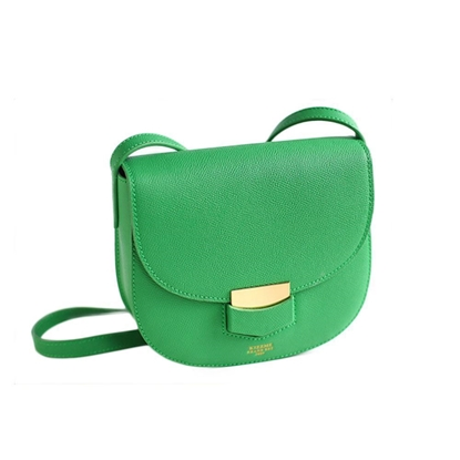Picture of KIZZME Palm Pattern Cowhide Leather Bag in Saddle Shape (Green)