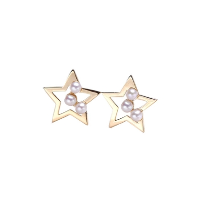 Picture of 18K Gold Akoya Pearls Star Earrings