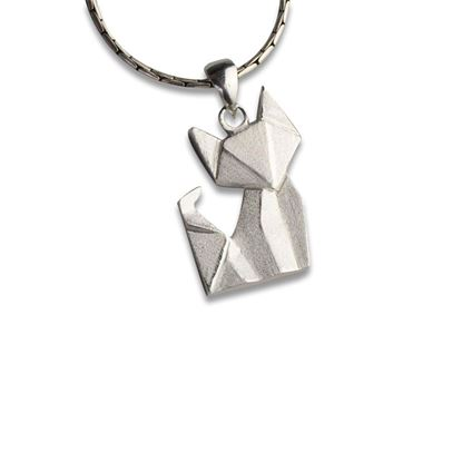 Picture of Sterling Silver Origami Fox Pendant