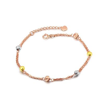 Picture of 18K Rose Gold Bracelet with Tri-colored Gold Beads