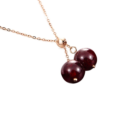 Picture of Wong Ke Tai 18K Gold Double Garnets Necklace