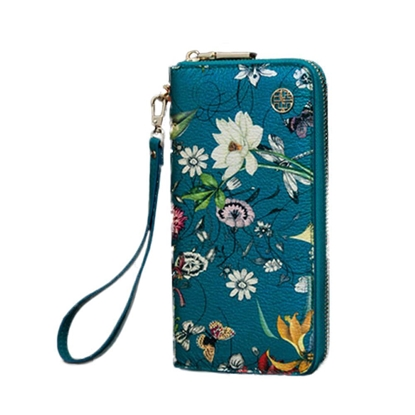 Picture of PMSIX Ethnic Printed Vintage Leather Handbag(Blue)