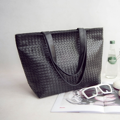 Picture of Knitting Pattern Leather Tote