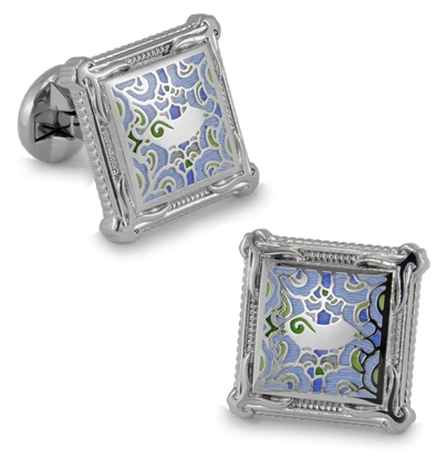 Picture of French Cufflinks - Sparta Enamel / Van Gogh Abstract