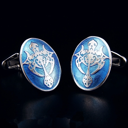 Picture of French Cufflinks - Sparta Enamel / Blue Eternity