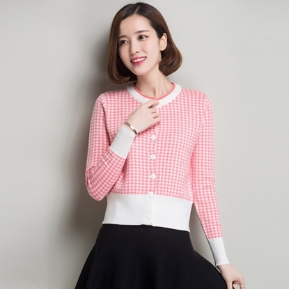 Picture of Women's Round Neck Chanel-style Knitted Cashmere Cardigan