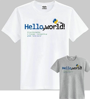 Picture of Gekius Fashionable Printed Round-Neck Cotton T-shirt - Programmer-Python / Hello World