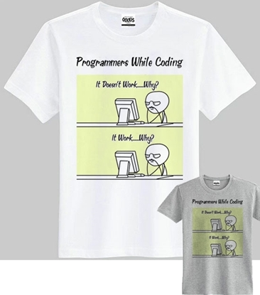 Picture of Gekius Fashionable Printed Round-Neck Cotton T-shirt - Programmer / While Coding