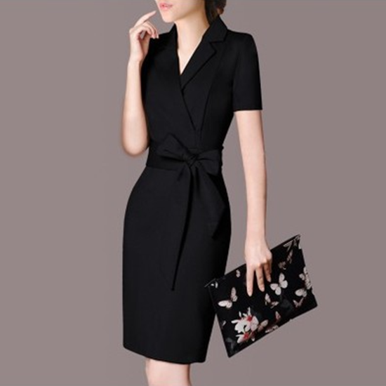 Picture of F/W Left Right Grid V-Neck Elegant Bow Belt Pencil Dress Skirt