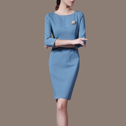 Picture of F/W Left Right Grid Round-Neck Elegant Brooch Pencil Dress Skirt