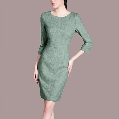 Picture of F/W Left Right Grid Round-Neck Elegant Back Zip Green Pencil Dress Skirt
