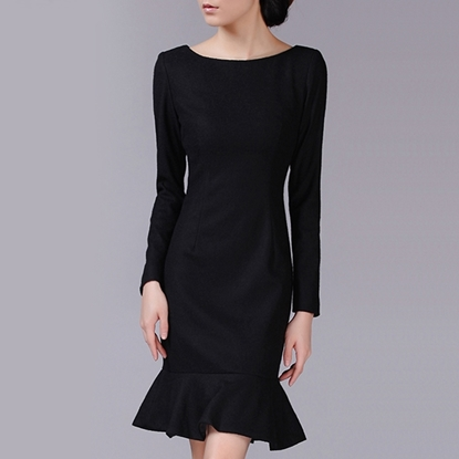 Picture of F/W Left Right Grid Round-Neck Elegant Pullover Black Fishtail Dress Skirt