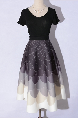 Picture of F/W Factory Autumn Printed High Waist Ball Gown A-line Skirt - Fish Scale / Thickening Section