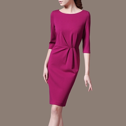 Picture of F/W Left Right Grid Round-Neck Elegant Waist-tightened Pencil Dress Skirt