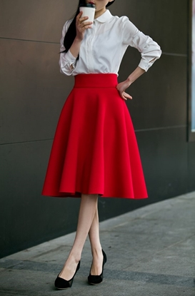 Picture of F/W Factory Autumn High Waist Ball Gown A-line Skirt - Pleated