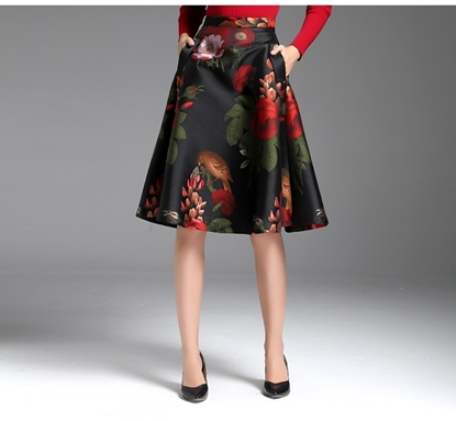 Picture of F/W Yihui Autumn Printed High Waist A-line Skirt - Flowers