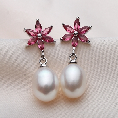 Picture of Vivi Gorgeous Ruby S925 Silver Freshwater Pearl Drop Earrings