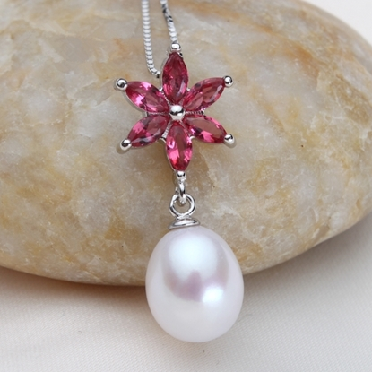 Picture of Vivi Gorgeous Ruby S925 Silver Freshwater Pearl Pendant