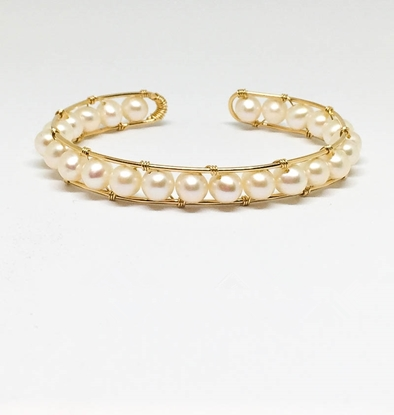 Picture of BestBlue Original Natural Freshwater Pearl & 14K Gold Fill Opening Bracelet