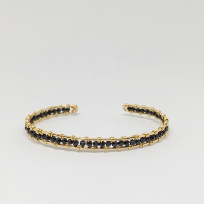 Picture of BestBlue Original Mini Black Spinel & 14K Gold Fill Opening Bracelet