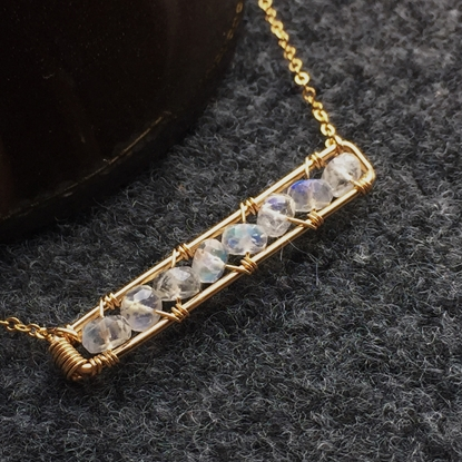 Picture of BestBlue Original Vitreous Strong Blue Moonstone Necklace