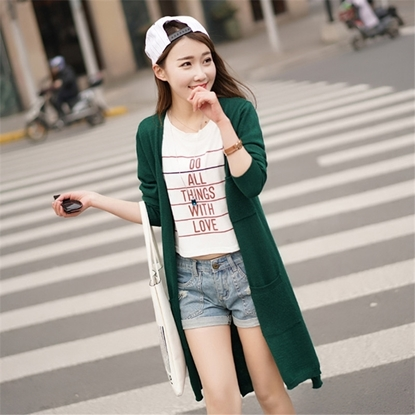 Picture of 9COLOR Cashmere Three Pocket Extra Long Cardigan