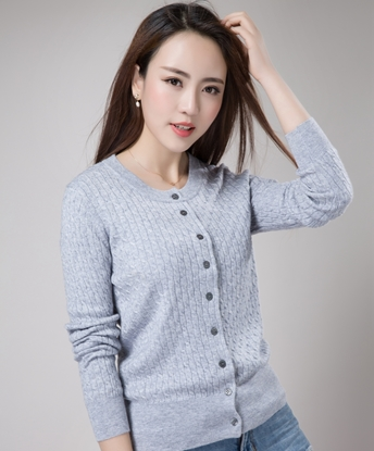 Picture of 9COLOR Cashmere Twist Knitting Round-Neck Short Cardigan