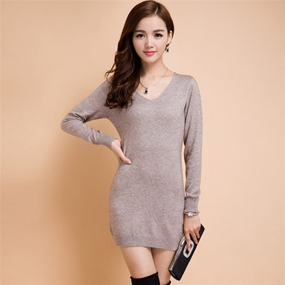 Picture of 9COLOR Cashmere V-Neck Pullover Knitted Dress