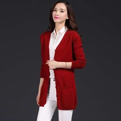 Picture of 9COLOR Cashmere Two Pocket V-Neck Long Cardigan
